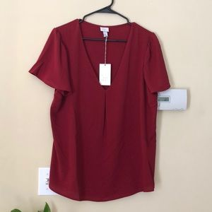 Red blouse short sleeve